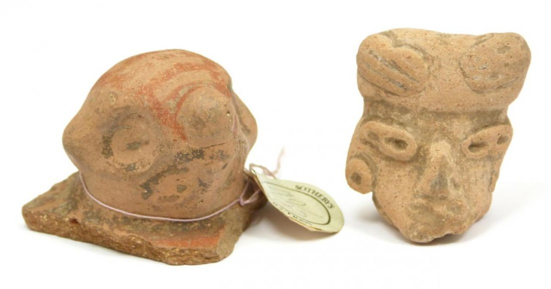 2 PRE-COLOMBIAN POTTERY HEAD FRAGMENTS