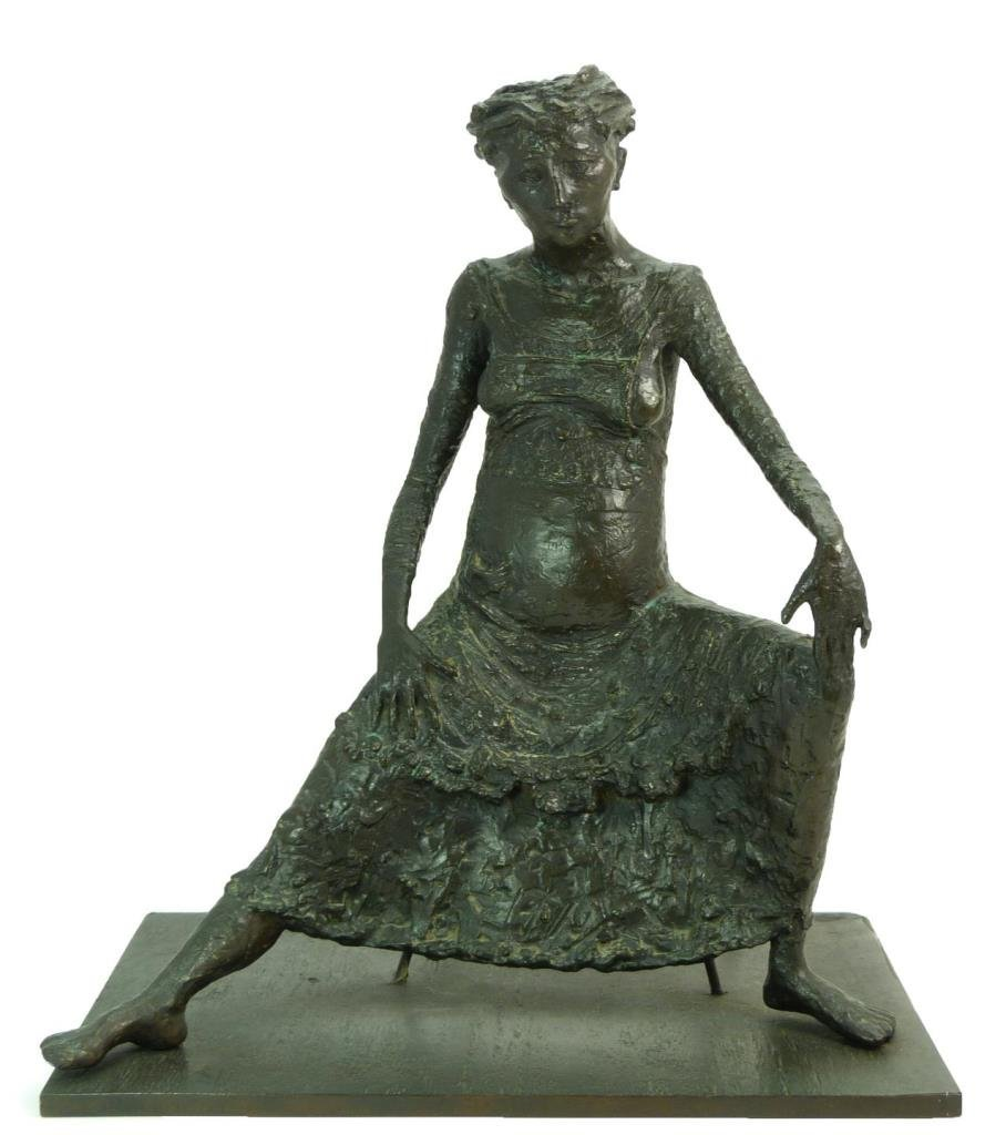 BRUNO LUCCHESI BRONZE SCULPTURE OF SEATED WOMAN