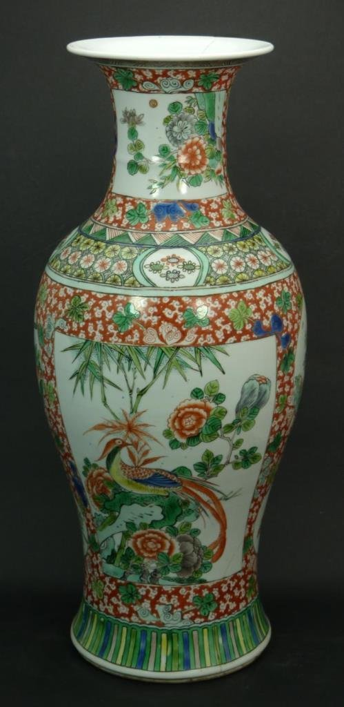 CHINESE EARLY 20th C WUCAI PORCELAIN FLORAL VASE