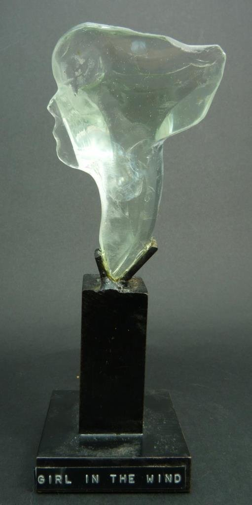 PASCAL GLASS SCULPTURE TITLED 'GIRL IN THE WIND'