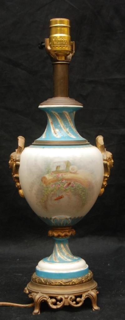 EUROPEAN PORCELAIN FIGURAL SEVRES STYLE LAMP