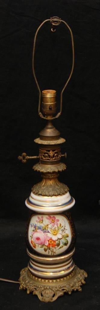 SEVRES STYLE PORCELAIN & GILT METAL TABLE LAMP