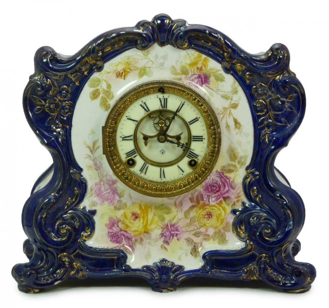 ANSONIA COBALT FLOW BLUE CHINA CASE MANTEL CLOCK