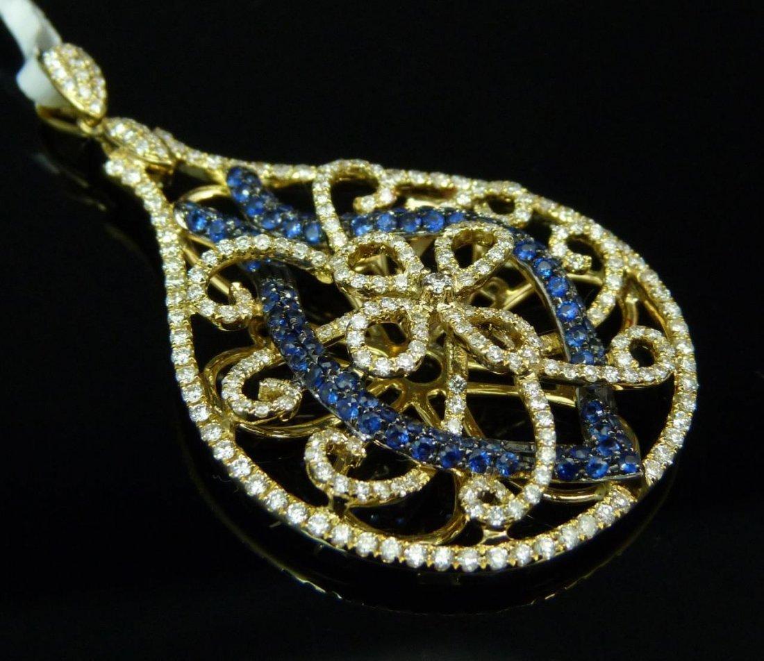 18K YELLOW GOLD BLUE SAPPHIRE PENDANT