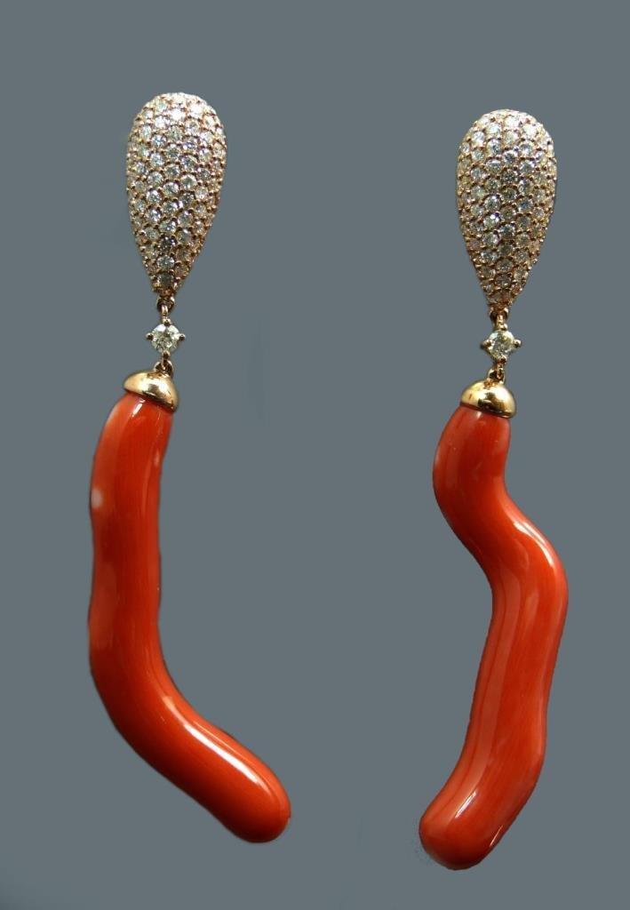 PAIR 14K RED CORAL DIAMOND EARRINGS