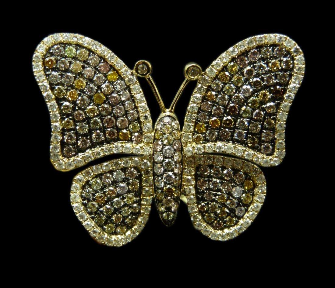 18K YELLOW GOLD DIAMOND BUTTERFLY RING