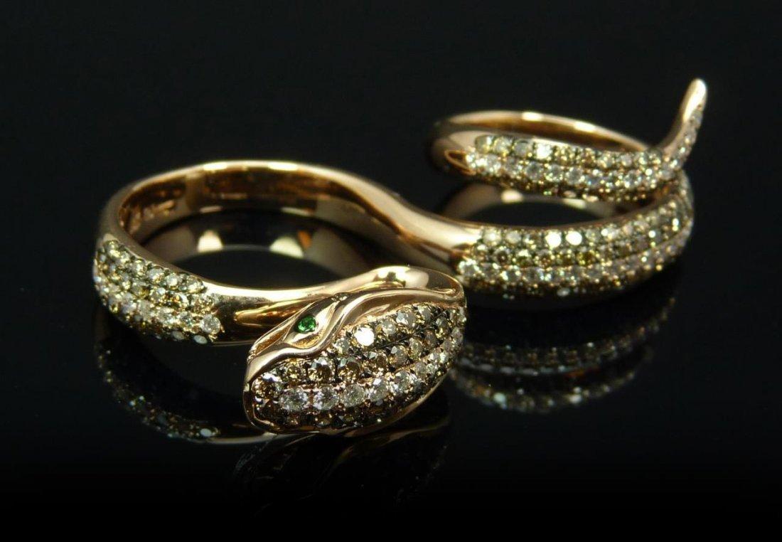 18K ROSE GOLD BROWN DIAMOND SNAKE DOUBLE RING
