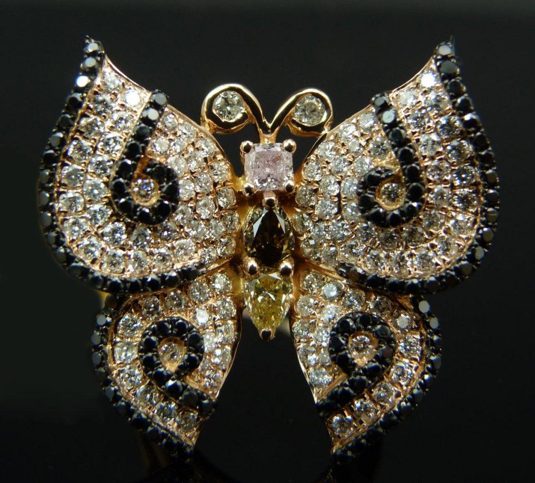 18K ROSE GOLD DIAMOND BUTTERFLY RING