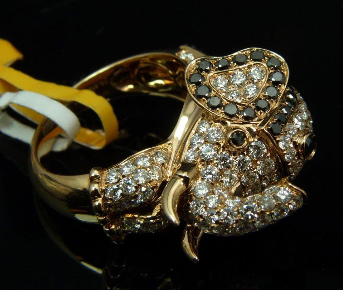 18K ROSE GOLD BLACK DIAMOND ELEPHANT RING