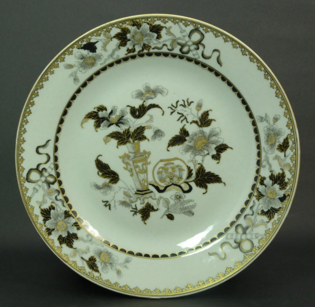 18th C CHINESE EXPORT PERIOD GOLD & BLACK PLATE