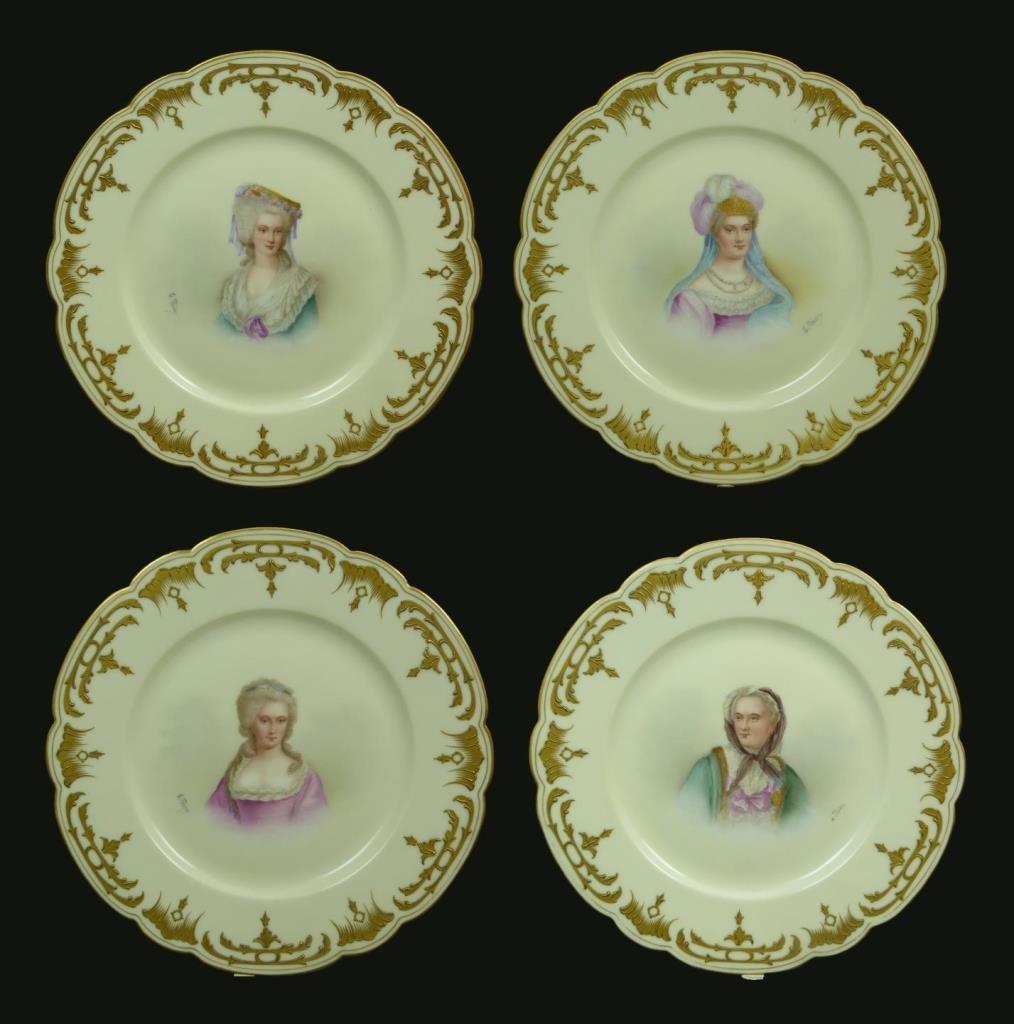 4 SEVRES FRENCH PORCELAIN PORTRAIT PLATES