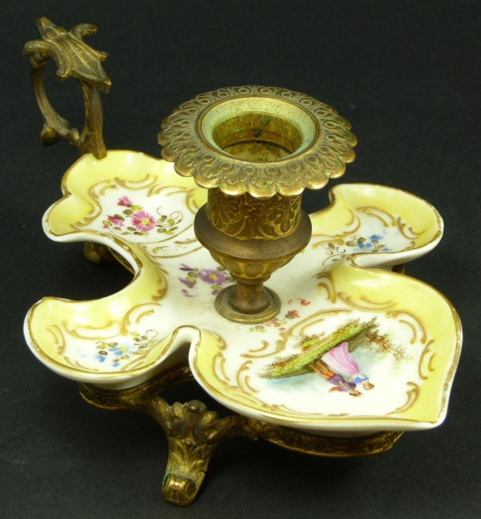 FRENCH PORCELAIN BRASS MOUNTED CHAMBERSTICK
