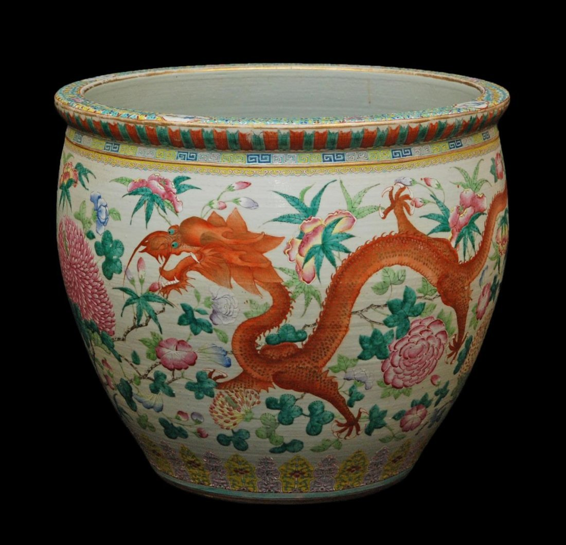 LARGE GUANGXU FAMILLE ROSE PORCELAIN FISH BOWL