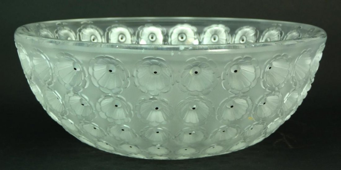 LALIQUE FRANCE CRYSTAL 'NEMOURS' BOWL
