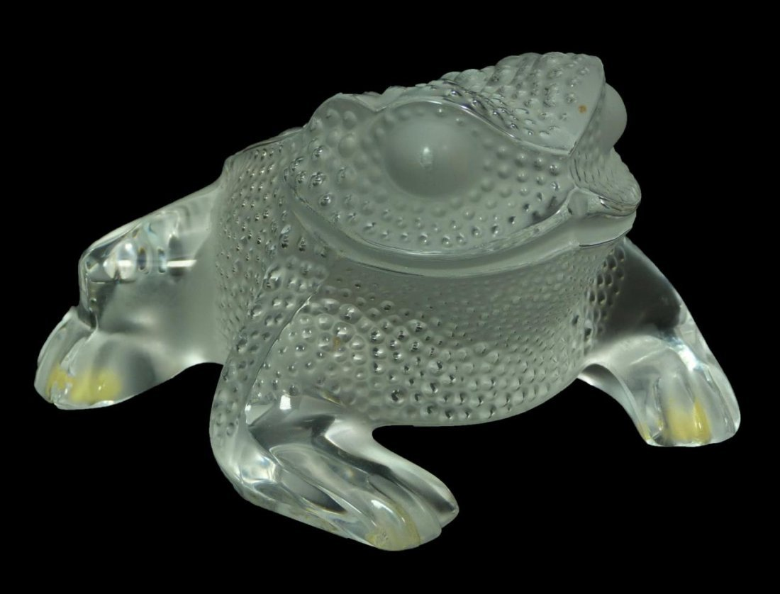 LALIQUE FRANCE CRYSTAL 'GREGOIRE' TOAD FIGURE