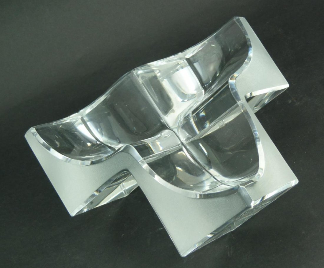 DAUM FRANCE DECORATIVE CRYSTAL CUBE FORM DISH