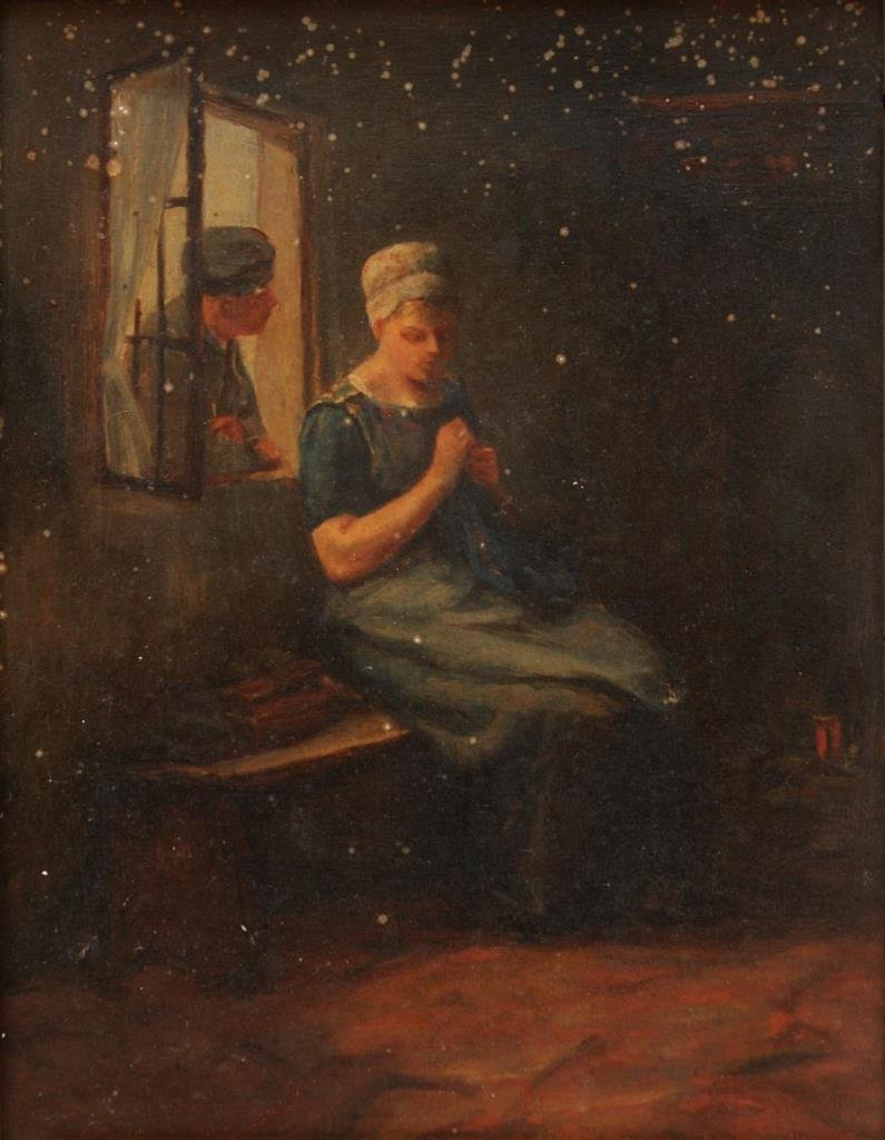 19th C OIL PAINTING ON WOODEN PANEL KNITTING WOMAN