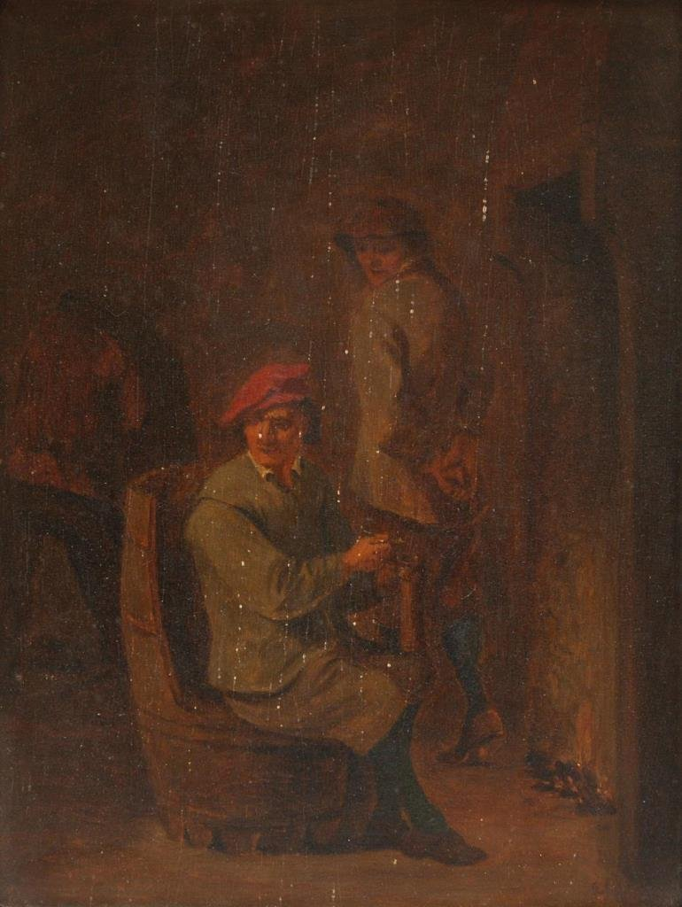 19th C OIL PAINTING ON WOODEN PANEL OF SEATED MAN