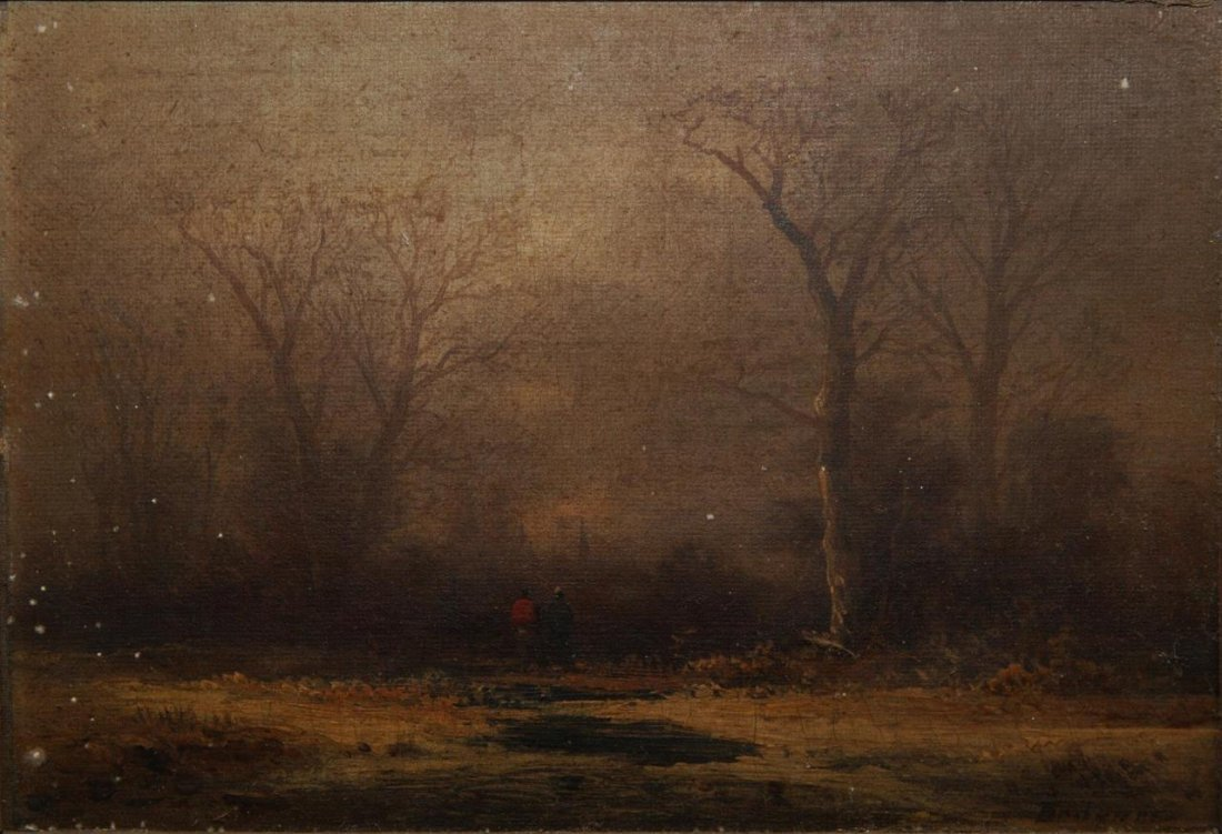 19th C OIL PAINTING ON CANVAS OF LANDSCAPE SCENE