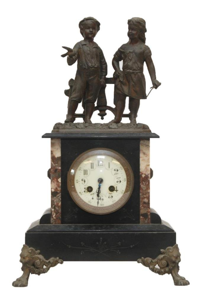 19th c LP JAPY FRERES SLATE FIGURAL MANTEL CLOCK