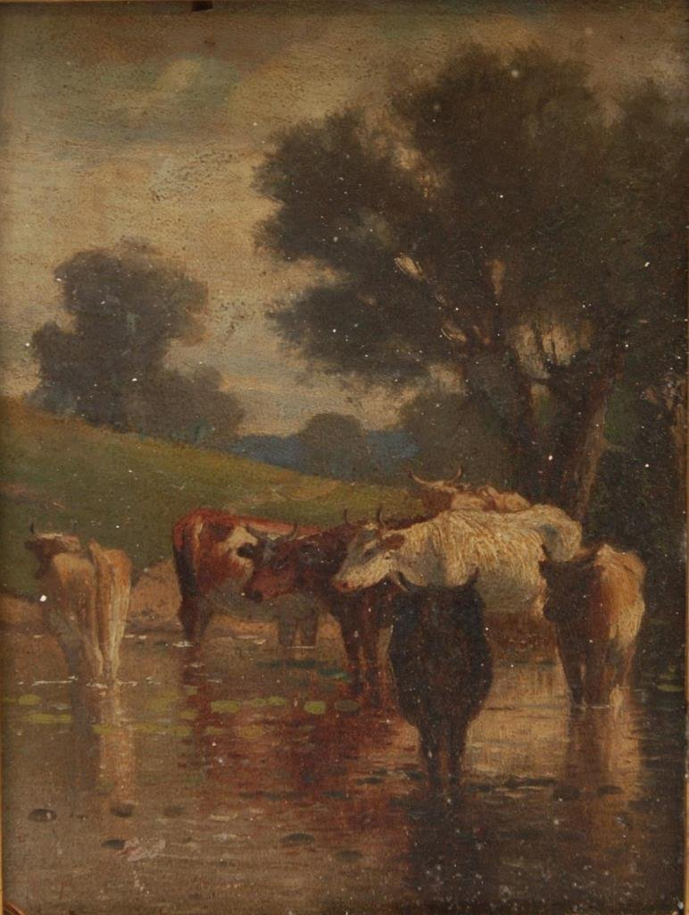 19th C OIL PAINTING ON PANEL OF CATTLE DRINKING
