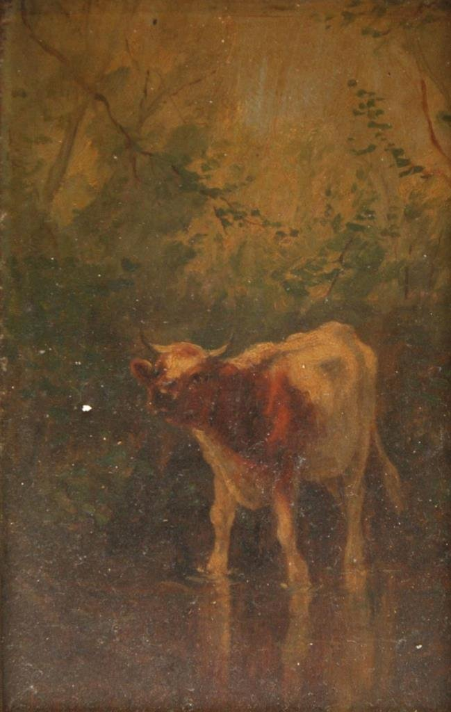 19th C OIL PAINTING ON PANEL OF BOVINE IN WATER