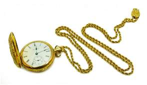 ELGIN 14K YELLOW GOLD POCKET WATCH w CHAIN