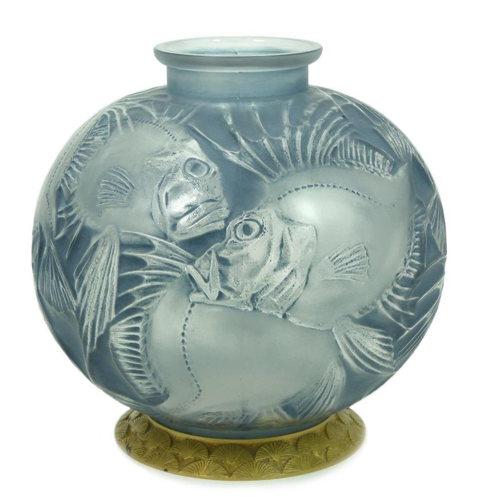 Rene lalique france crystal blue 39 poissons 39 vase for Lalique vase