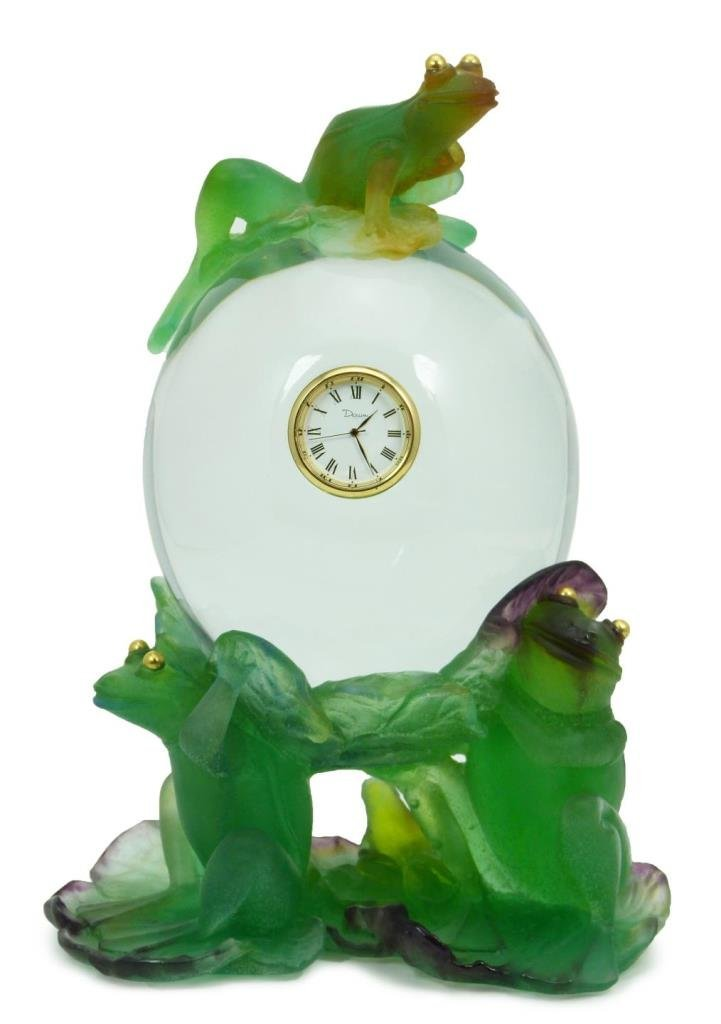 LARGE UNIQUE DAUM PATE DE VERRE CRYSTAL FROG CLOCK
