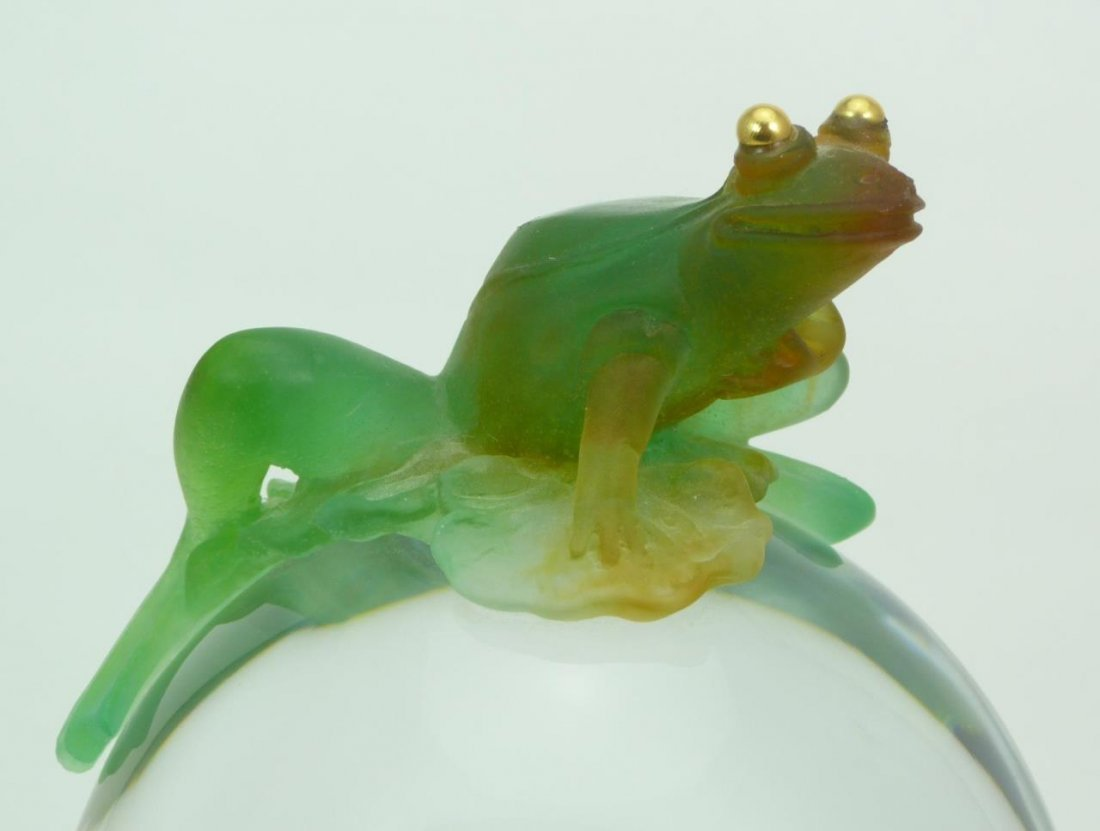 LARGE UNIQUE DAUM PATE DE VERRE CRYSTAL FROG CLOCK - 2