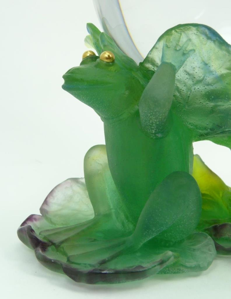 LARGE UNIQUE DAUM PATE DE VERRE CRYSTAL FROG CLOCK - 4
