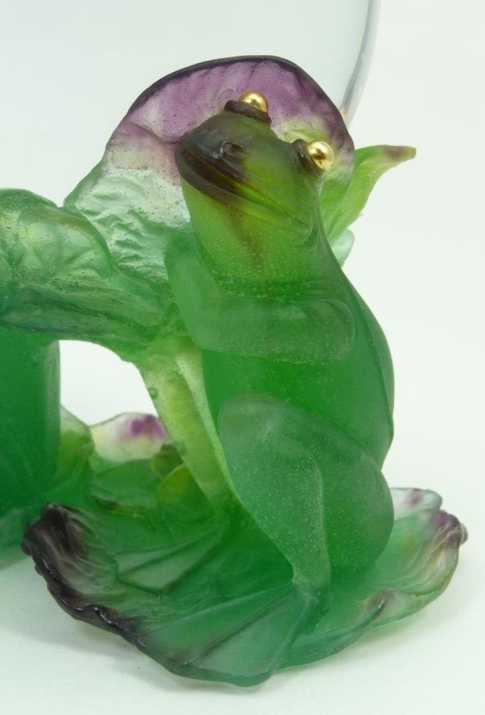 LARGE UNIQUE DAUM PATE DE VERRE CRYSTAL FROG CLOCK - 5