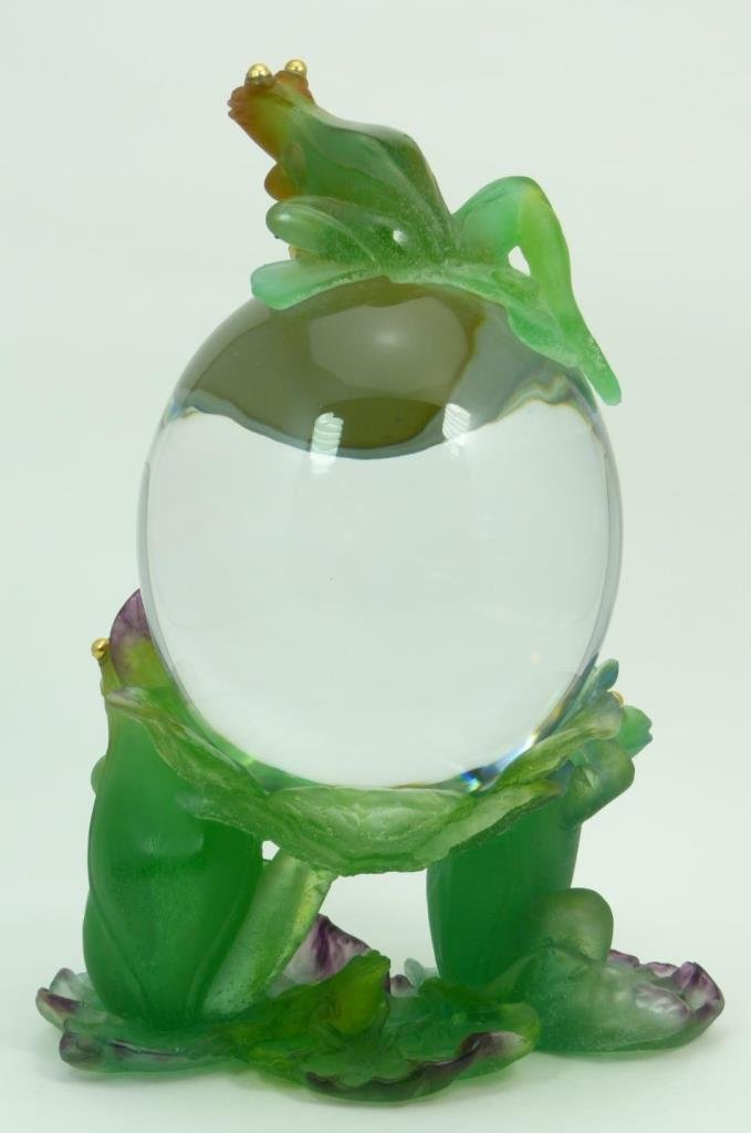 LARGE UNIQUE DAUM PATE DE VERRE CRYSTAL FROG CLOCK - 6
