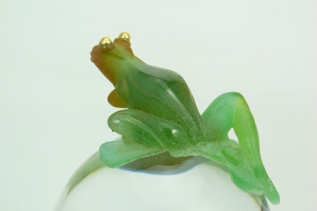 LARGE UNIQUE DAUM PATE DE VERRE CRYSTAL FROG CLOCK - 7