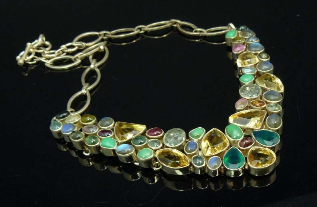 HEAVY STERLING AND SEMI PRECIOUS STONE NECKLACE