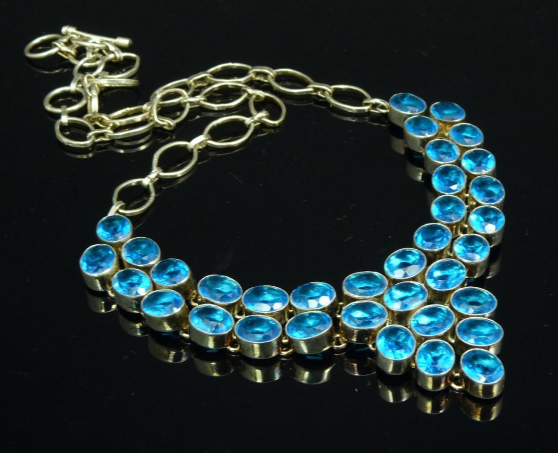 HEAVY STERLING AND BLUE TOPAZ NECKLACE