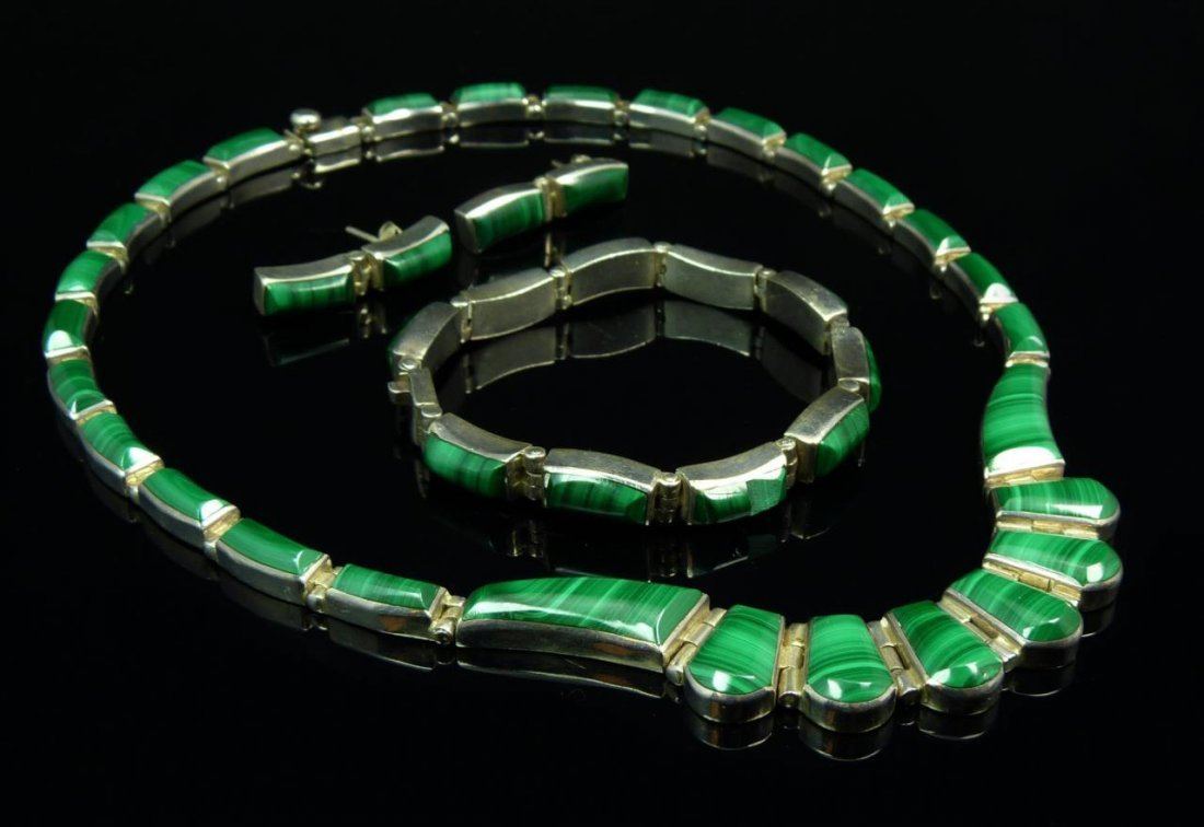 4PC MONTERO STERLING & MALACHITE JEWELRY SUITE