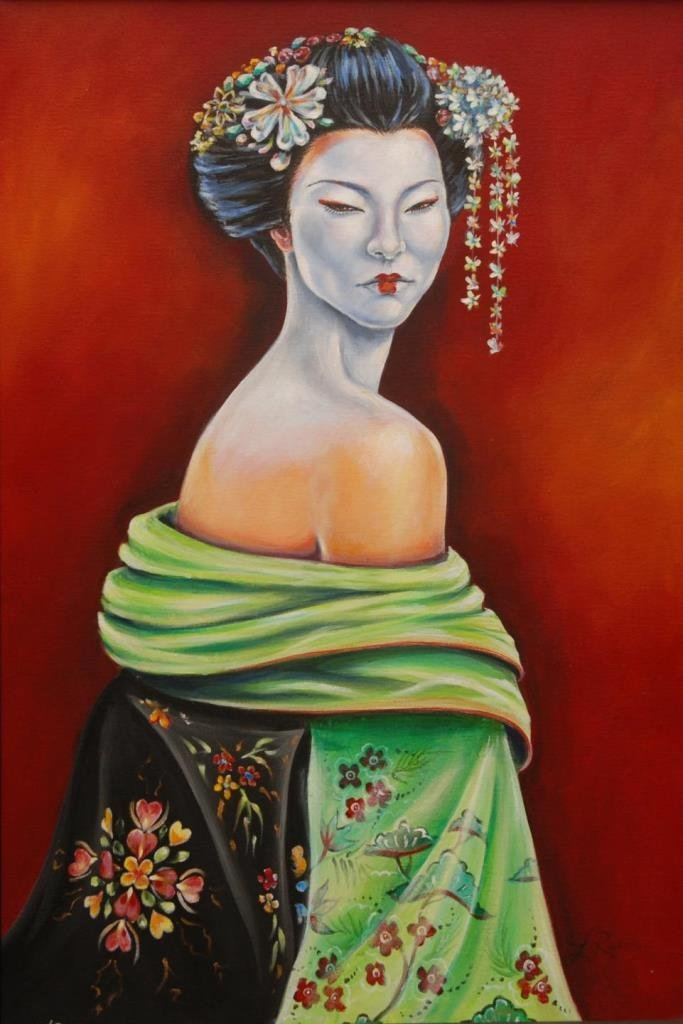 LAUREN RUDOLPH LARGE O/C OF A GEISHA SIGNED