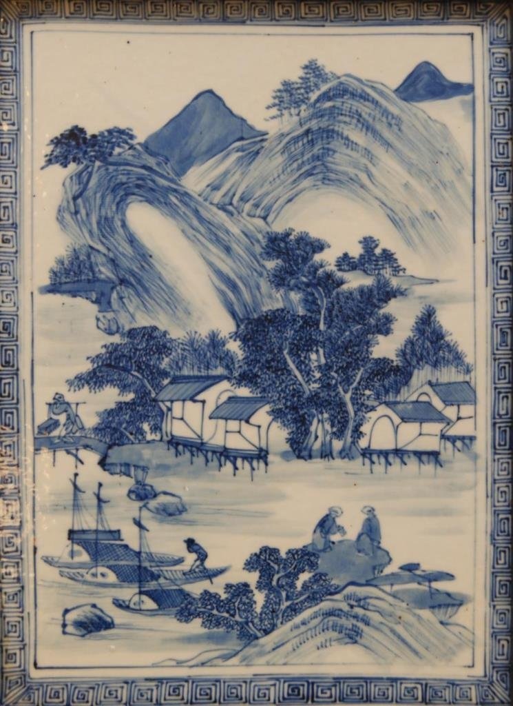 IMPORTANT IMPERIAL CHINESE 18TH C B&W PLAQUE