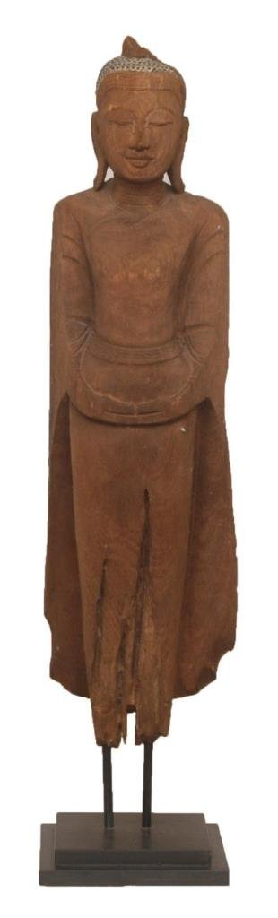 18TH C CHINESE WOOD CARVED BUDDHA