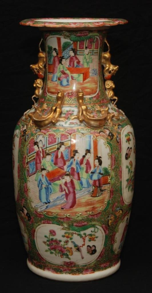19TH C CHINESE ROSE MEDALLION TALL VASE W DRAGONS