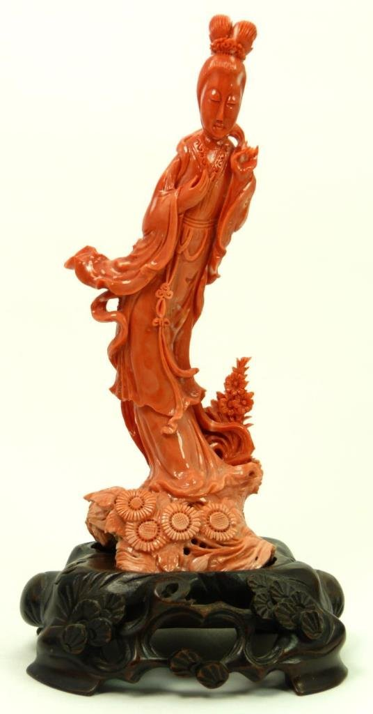 ANTIQUE CHINESE CARVED CORAL LARGE QUAN YIN