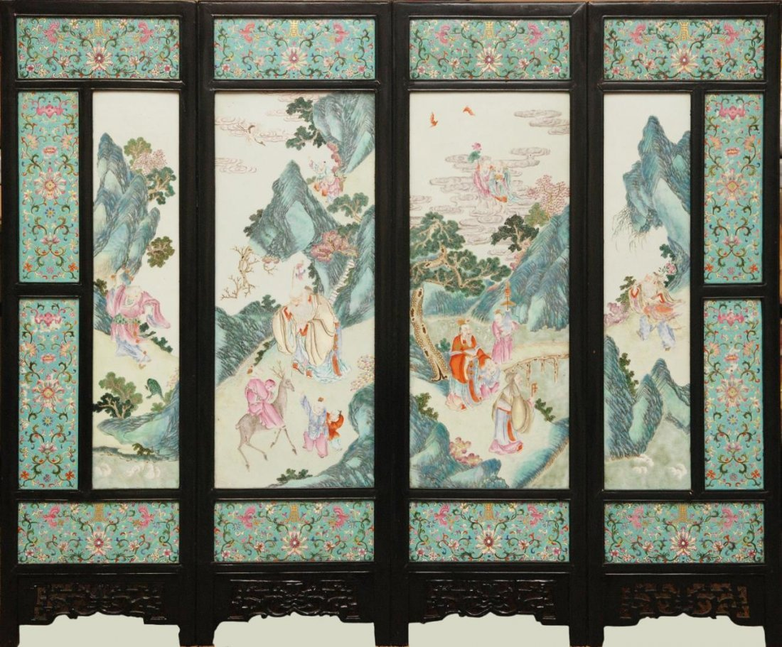 IMPORTANT ANTIQUE LARGE CHINESE PORCELAIN SCREEN