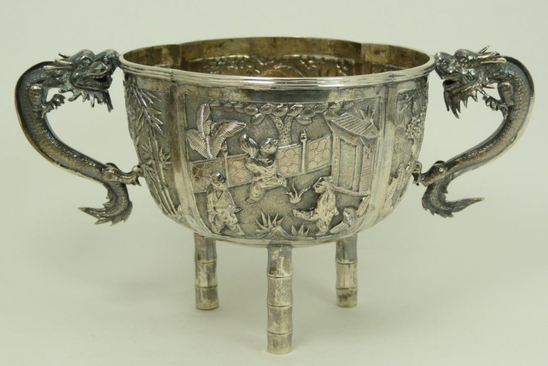 FABULOUS CHINESE SILVER DRAGON FOOTED BOWL