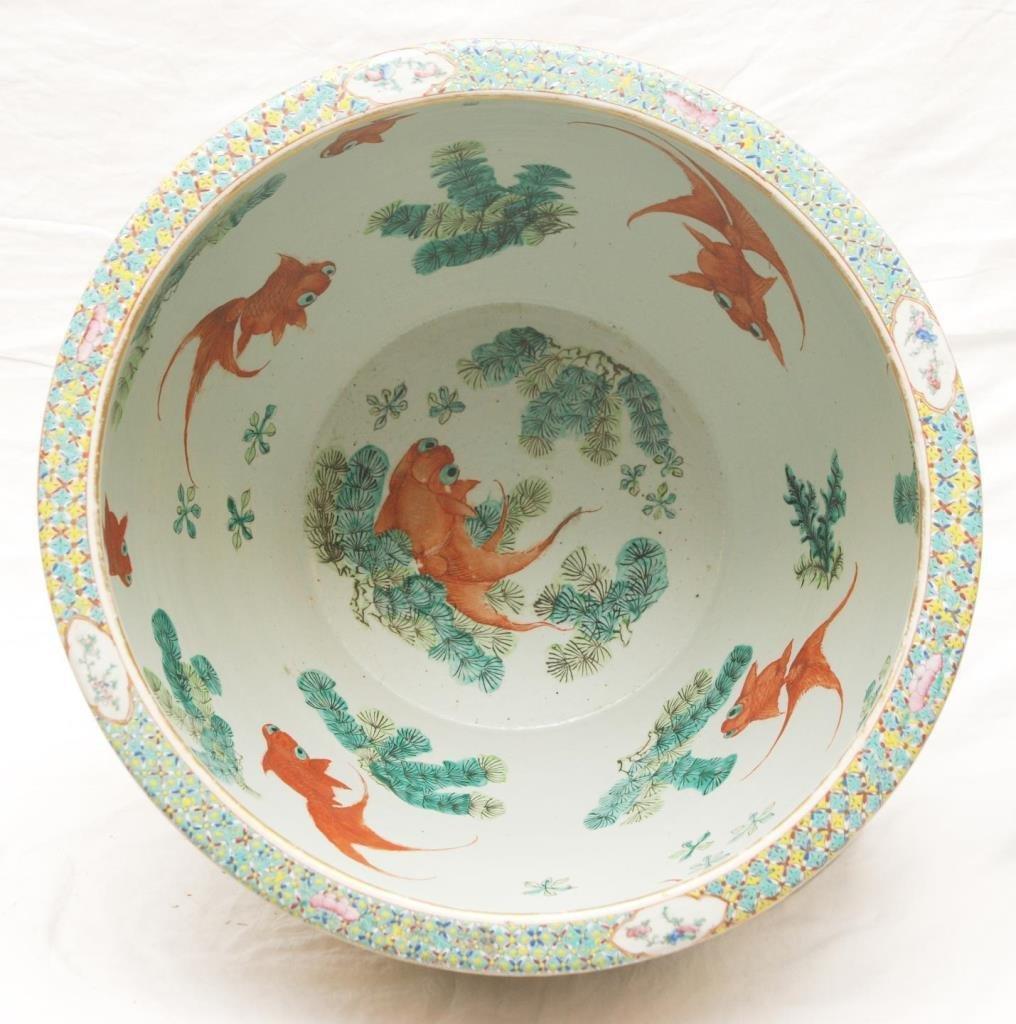 LARGE GUANGXU FAMILLE ROSE PORCELAIN FISH BOWL - 8