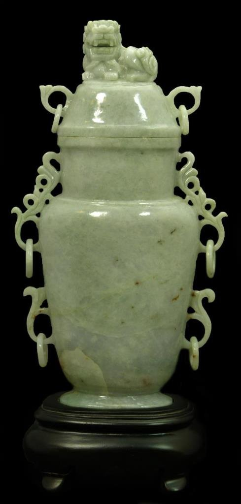 IMPORTANT CHINESE LAVENDER JADE COVERED VASE