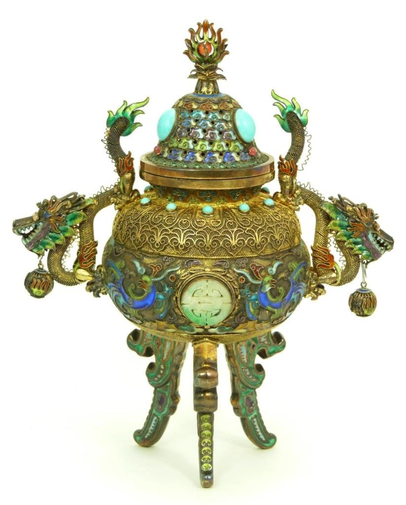 19TH C CHINESE ENAMEL ON SILVER CENSOR