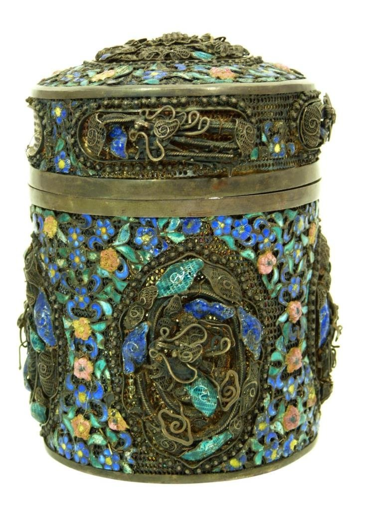 ANTIQUE CHINESE ENAMELED OVER SILVER CANISTER