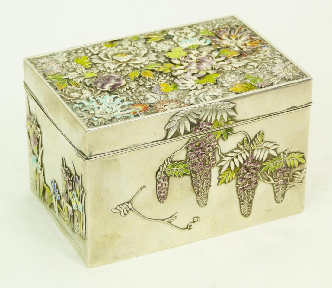 CHINESE SILVER AND ENAMELED WISTERIA BOX