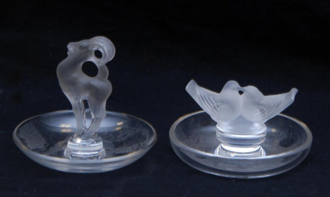 TWO LALIQUE CRYSTAL RING TRAYS